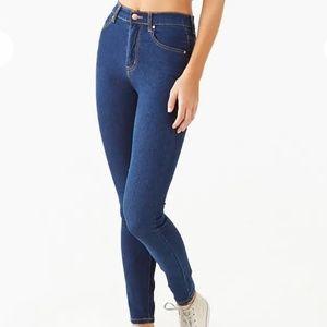 FOREVER 21 Super Stretch Skinny Jeans Dark Blue